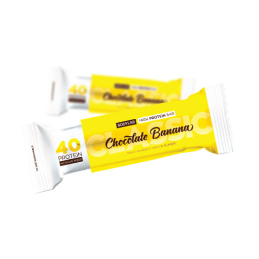 Proteinska čokoladica Bodylab u žutoj ambalaži okusa banane i čokolade od 60 grama