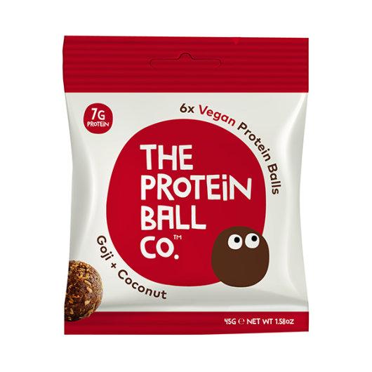 Veganske proteinske kuglice u crveno-bijelom pakiranju od 45g.