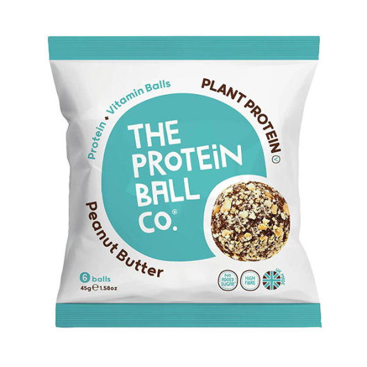 Veganske proteinske kuglice u ljubičasto-bijelom pakiranju od 45 grama.