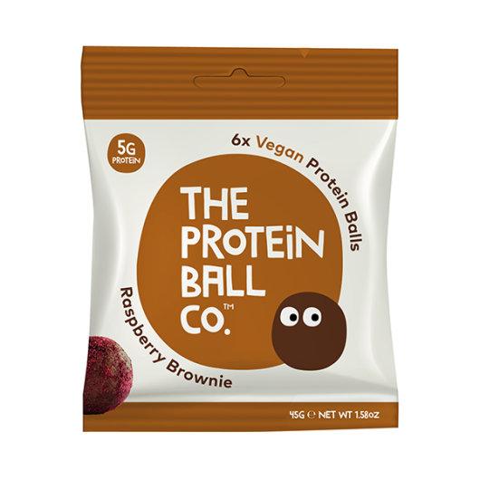 Veganske proteinske kuglice RASPBERRY BROWINE u smeđe-bijelom pakiranju od 45 grama.